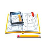 Open accounting book with calculator and pencil. Open accounting book or ledger tables with calculator and pencil. Flat style vector illustration isolated on Royalty Free Stock Photo