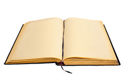 Open and aged book on white Royalty Free Stock Photo