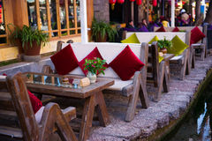 Open air bars in Lijiang. China.There is a famous tourist attraction Stock Photography