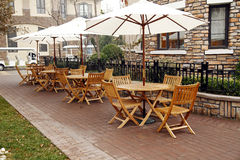Open-air cafe. In the top-grade  residential area Royalty Free Stock Photo