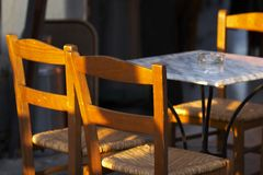 Open-air cafe. Chairs and table stock photos