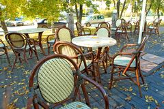 Open-air cafe in the autumn Stock Image