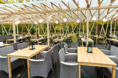 Open air Cafe Four Kitchens in the park Royalty Free Stock Images
