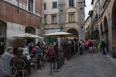 Open Air cafe on lucca`s street. Italy. Royalty Free Stock Image