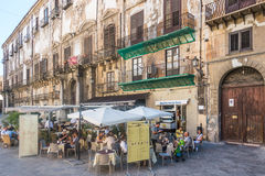Open air cafe, Palermo, Italy. People eating in open air cafes in Palermo, Italy stock images