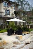 Open-air cafe in the villa Royalty Free Stock Photos