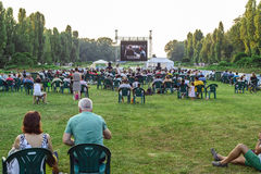 Open air cinema in Bucharest Royalty Free Stock Image
