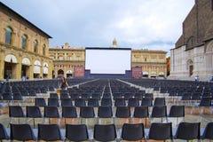 Open air cinema in a center of Bologna Stock Photo
