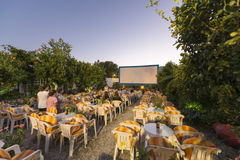Open air cinema in Greece. Island of Samos in the Eastern Aegean is the island of Pythagoras and a well known tourist resort Stock Images