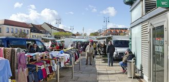 Open-air commercial fair Stock Photo