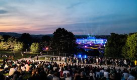 Open-air concert of a Summer Night from the magnificent gardens of the Schonbrunn Palace with the Philharmonic Orchestra of Vienna royalty free stock photo