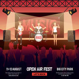 Open Air Festival Banner. Festival square banner with female-fronted rock music band performing on stage in front of audience vector illustration Royalty Free Stock Photos