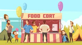 Open Air Festival Food Court. Open air festival camping area retro cartoon banner with food court tents and fathers with kids vector illustration Royalty Free Stock Photo