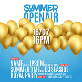 Open Air Festival Party Poster design. Flyer or brochure template for Summer with golden balloons. Open Air Festival Party Poster design. Flyer or poster Royalty Free Stock Images