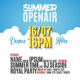 Open Air Festival Party Poster design. Flyer or brochure template for Summer with golden balloons stock illustration