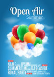 Open Air Festival Party Poster design. Flyer or poster template for Summer Open Air with colorful balloons.  Royalty Free Stock Image
