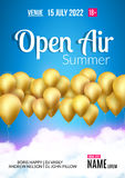 Open Air Festival Party Poster design. Flyer or poster template for Summer Open Air with golden balloons.  Stock Photography