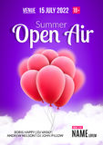 Open Air Festival Party Poster design. Flyer or poster template for Summer Open Air with red balloons.  Stock Photo