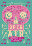 Open Air festival party typographic vintage style grunge poster design. Retro vector illustration. Royalty Free Stock Images