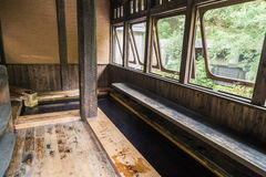 Open air foot hot spring spa in Kurokawa, Kyushu.  stock images