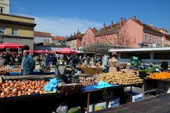 Open air fresh produce vegetables and fruit street market Zagreb Croatia Royalty Free Stock Images