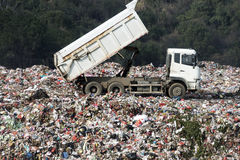 The open-air garbage disposal. Plant has machines a plant has machines at workt work Royalty Free Stock Photo