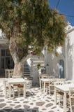 Open air Greek taverna stock photo