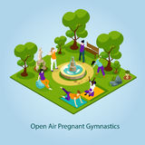 Open Air Gymnastics For Pregnant Illustration Royalty Free Stock Photo