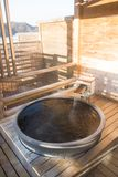 Open air hot spring onsen. Very beautiful view open air hot spring onsen in japan royalty free stock photos