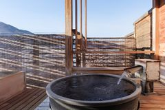 Open air hot spring onsen. Very beautiful view open air hot spring onsen in japan stock photography