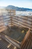 Open air hot spring onsen. Very beautiful view open air hot spring onsen in japan royalty free stock images