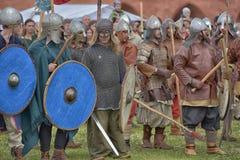 Open-air Legends of Norwegian Vikings. Festival of historical reconstruction Legend of the Norwegian Vikings, St. Petersburg, Russia Stock Images