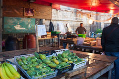Open-air market, Palermo. PALERMO, ITALY - DECEMBER 28, 2013: View of open air fruit market in Ballaro famous neighborhood in Palermo Stock Photography