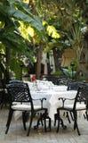 Open-air mediterranean restaurant Stock Photo