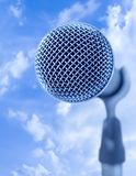 Open Air Mike. Professional Microphone Over Blue Sky (With Text Area Stock Photos