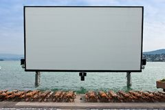 Open-air movie screen. On the lake of Zurich stock photography