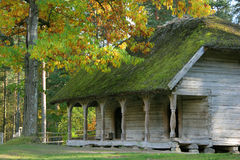 Open-air museum. Old house at open-air museum in autumn, Latvia Royalty Free Stock Image