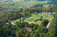 Open-air museum. Open air museum (skanzen) near city Stara Lubovna in Slovakia. aerial photo Stock Photography