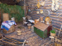 Open-air museum of  ancient wooden architecture, log hut interior. Vitoslavlitsy, Great  Novgorod Stock Photography