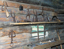 Open-air museum of  ancient wooden architecture, smithy interior. Vitoslavlitsy, Great  Novgorod Stock Photography