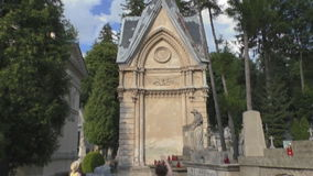 Open Air Museum Lychakiv cemetery monuments stock video footage