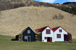 Open air museum with Old typical rural Icelandic houses Royalty Free Stock Photography