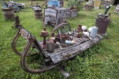 Open air museum of old unnecessary things, antique unwanted junk stock photo