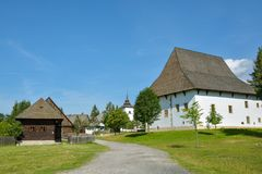 Open air museum of traditional slovak village in Pribylina, Slovakia. Pribylina, Slovakia - August 10, 2014: Open air museum of traditional slovak village in stock photo