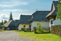 Open air museum of traditional slovak village in Pribylina, Slovakia. Pribylina, Slovakia - August 10, 2014: Open air museum of traditional slovak village in royalty free stock image