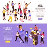 Open Air Music Festival Isometric Banners. Open air music festival horizontal banners with rock band and dancing crowd of audience isometric vector illustration vector illustration
