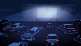 Open air, outdoor or drive-in cinema theater at night. Large movie screen glowing in darkness surrounded by cars against. Evening sky with stars and clouds on stock illustration