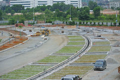 Open air parking lots under construction Stock Image