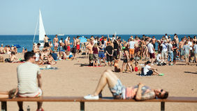 Open air party on the beach in Barcelona Stock Image