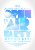 Open air party poster with text silhouette on a sky. Stock Photos